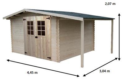 Abri Madriers bois massif avec Bûcher / 28 mm / 13,52 m2 / toiture plaques ondulées